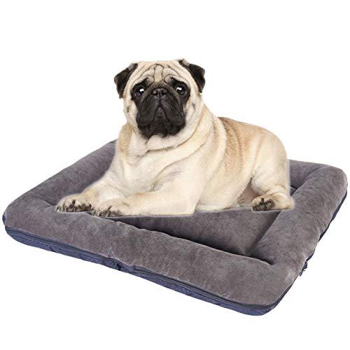 JOOFFF Colchón Perro Lavable,Colchón Perro Antideslizante Perros Grandes Medianos Qequeños,Suave Cojines Perros Funda Lavable-Gris M