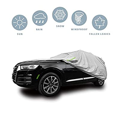 SUV Car Cover Waterproof All Weather Breathable 210T SUV Car Covers Compatible with Toyota RAV4 UV Protection/Windproof/Dustproof/Scratch Resistant (Length 191
