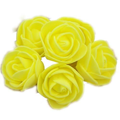 Yalulu 300 Stück Foamrosen Schaumrosen Schaumköpfe Künstliche Blume Brautstrauß Rosenköpfe DIY Handwerk Hochzeits Valentinstag Dekor (Gelb)
