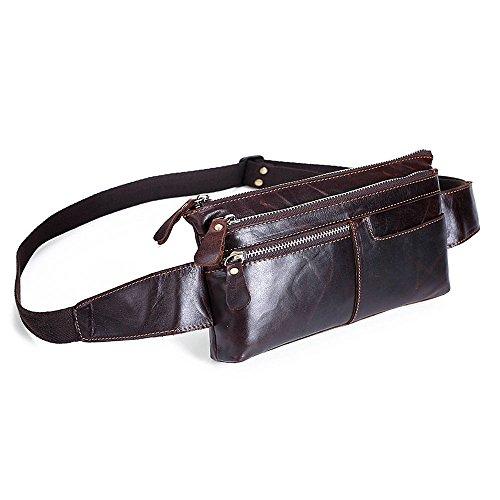 Ivotre véritable Top Cuir Sac banane Vantage Style épaule Sling Bag, fonctionnel et multi-poches Sac de poitrine pour hommes, garçons, adolescents – C