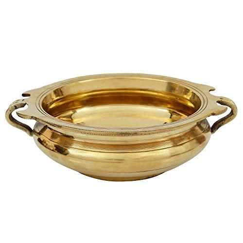 VintFlea Traditionelle indische Urli-Schüssel aus Messing, handgefertigt, 15,2 x 19,1 x 5,1 cm