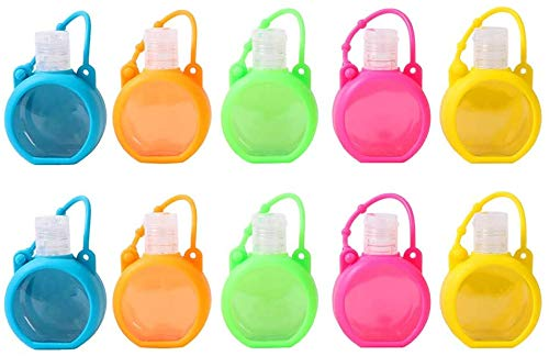 Bottle with Clip, 6 Pack Cute Cartoon Travel Bottles Set, Kids Hand Sanitiser Bottle with Clip, Portable Travel Containers, 30ml Refillable Empty Bottles, Perfect for School & Travel