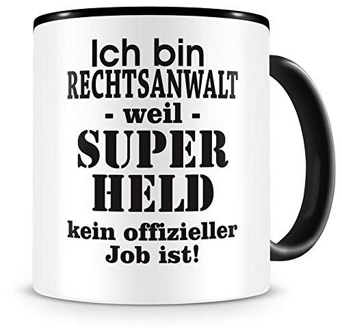 Samunshi® Ich bin Rechtsanwalt Tasse Beruf Geschenk Kaffeetasse Teetasse Kaffeepott Kaffeebecher Becher Geburtstag schwarz 300ml