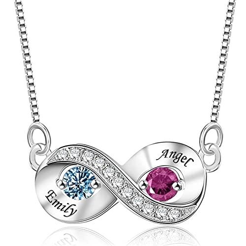 DHDHWL Collar personalizable con 2 piedras natales de imitación, regalo personalizado para mujeres (color plata, longitud: 45 cm)
