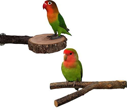 Joody 2 Pz Giocattolo per Pappagalli, Bastone per Pappagallo per Uccelli, Trespolo Posatoio Supporti per Uccelli in Legno Naturale per Piccolo Medi Pappagalli