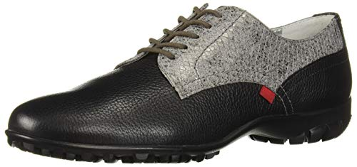 MARC JOSEPH NEW YORK Women's Leather Made in Brazil Pacific Lace Up Golf Shoe, Black Grainy/Python Pewter, 10 M US