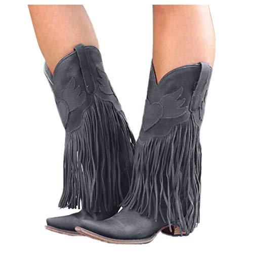 Dasongff Damen Stiefel mit Absatz Fransenstiefel Kniehohe Stiefeletten Flache Absätze Fransen Warm Cowboy-Stiefel Lange Schuhe Boots Winterschuhe Schneestiefel Herbst Winter