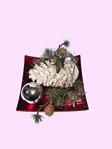 Adventsgesteck Nr.15 weißer Zapfen roter Teller Weihnachtsgesteck, Wintergesteck, Weihnachten