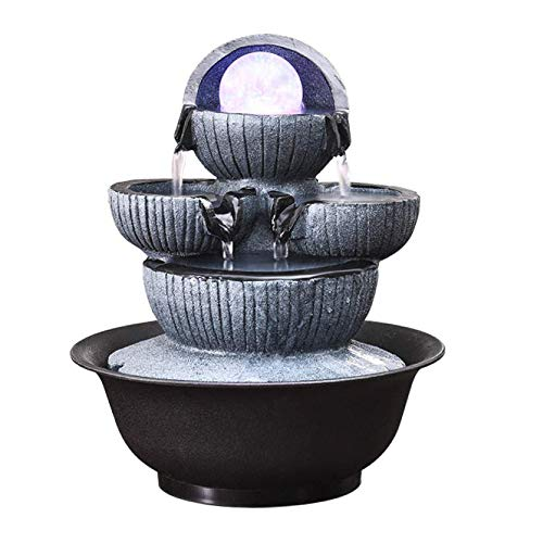 MonthYue Water Fountain Indoor Home Decor, Tabletop Indoor Fountain/Water Feature - 3 Tier Cascade With LED Lights