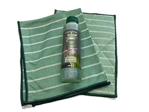 Bambus-Kristall 3er Hygiene-Set STARTER - 1 Poliertuch & 1 Wischtuch + Reiniger 250ml