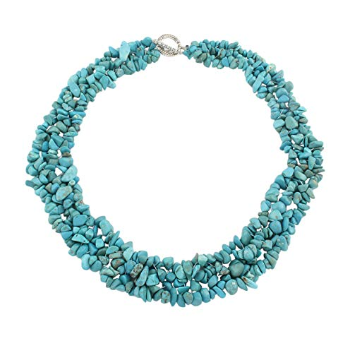 TreasureBay Chunky and Stylish Turquoise Necklace for Women and Girls with Toggle Clasp