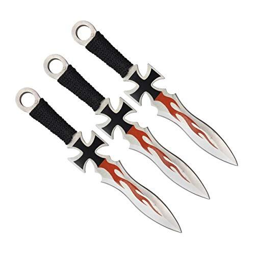 KOSxBO® Set 3er Eiseners Kreuz Darts Wurfmesser Set Iron Cross Flames Edition hochwertige Kunai Messer 17,5 cm inkl Nylon Scheide und Gürtelclip für Profis und Anfänger