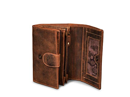 Giorgio Carelli® Damen Leder Geldbörse mit RFID-Schutz Echtleder Geldbeutel Portemonnaie (Braun)