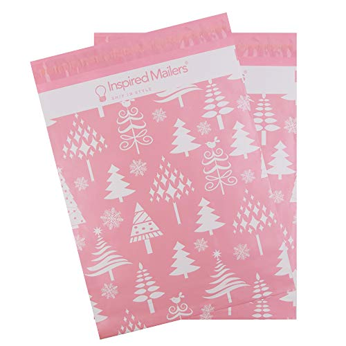 Inspired Mailers - Poly Mailers 10x13-100 Pack - Rose Gold Christmas Trees Deluxe - Holiday Package Bags - 10x13 Mailers - Shipping Bag - Polybags for Shipping