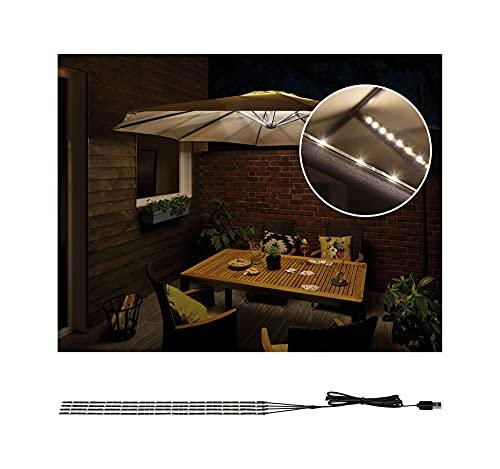 Paulmann Illuminazione Parasole, per Esterni, IP44, 3000 K, 4 x 0,4 m, Luce Decorativa per ombrellone, Strisce LED 0.1 W, Nero, 40 x 0.5 x 0.3 cm
