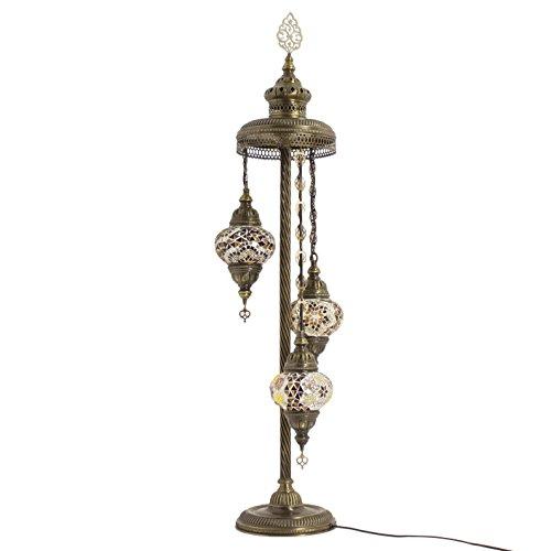 TK BAZAAR Stehlampe mit türkischem Mosaikkugel im atemberaubenden marokkanischen Stil, 3 mittelgroße Globe Lampenschirme