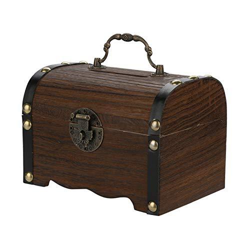 1 unid Hucha de madera Vintage Desktop Safe Diny Box Ahorros con Lock Wood Hecho a mano Regalos únicos para niños Niños Niñas y adultos