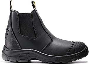 diig Work Boots for Men, Steel Toe Waterproof Working Boots, Slip Resistant Anti-Static Slip-on Safety EH Working Shoes 6 8 9 10 11 12 13 (LV812, 11-BLK)