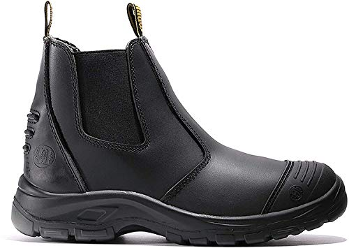 diig Work Boots for Men, Steel Toe Waterproof Working Boots, Slip Resistant Anti-Static Slip-on Safety EH Working Shoes 6 8 9 10 11 12 13 (LV812, 9-BLK)