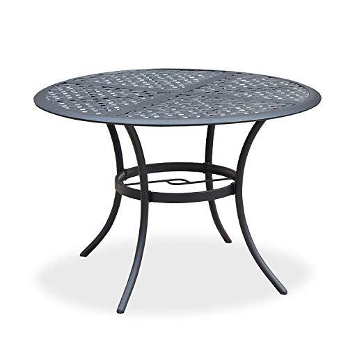 Romayard 42 Inch Outdoor Dining Table Round Patio Bistro Table Powder-Coated Steel Frame Top Patio Dining Table Outdoor Furniture Garden Table with 2.1' Umbrella Hole (Black)