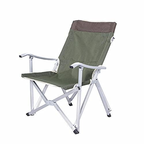 Klappstuhl, Outdoor Ultra-Light Aluminium-Campingstuhl, tragbarer Freizeitstuhl mit Armlehnen, maximale lasthaltige 230 Pfund, geeignet für Camping, Angeln, Strand (l/s),Grün,L
