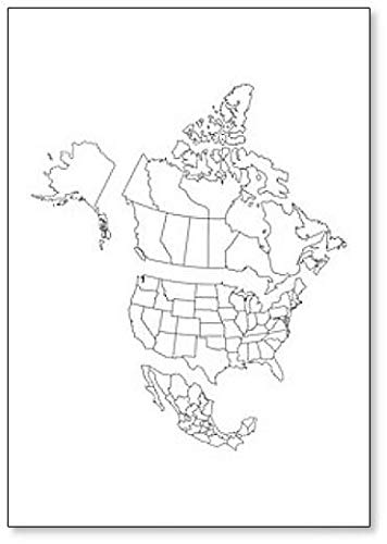 Blank Map of North America, with Separate Canada, Usa and Mexico Fridge Magnet