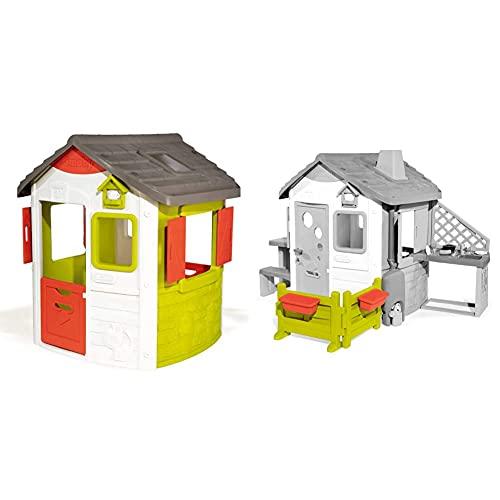 Smoby – Neo Jura Lodge - Spielhaus für Kinder für drinnen und draußen & Gartenzaun mit Blumenkästen – Zubehör für Kinder-Spielhaus, auch freistehend im Garten, passend für die Smoby Spielhäuser