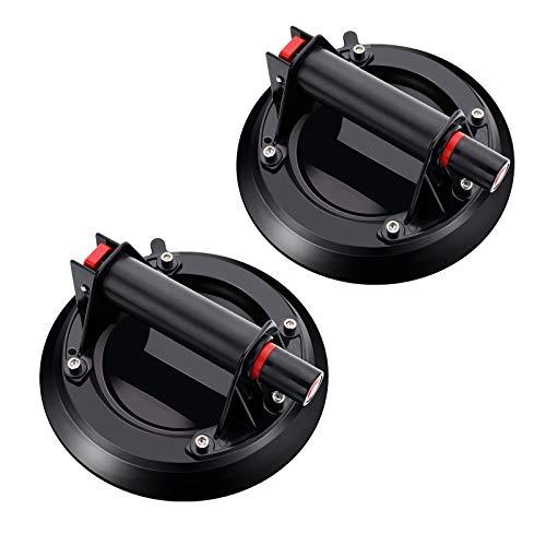 2 Pack Ventosas para Cristal - Capacidad de Carga de 220 kg Profesional Ventosas de Vacío Ventosa para Levantar Grandes Ventanas y Puertas, Suelos de Madera