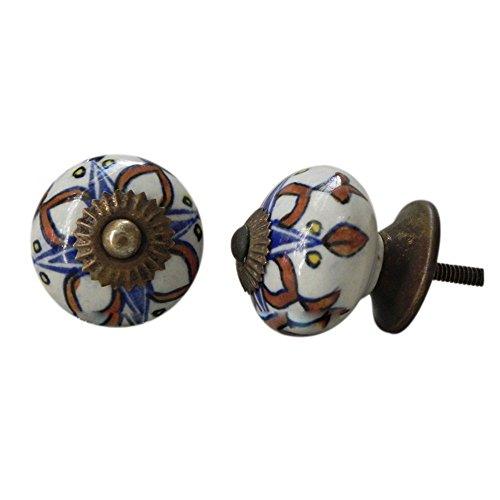 IndianShelf 2 Pezzo Ceramiche Artigianali collana cassetto manopole comò armadio guardaroba porta armadio tira nuovo Online