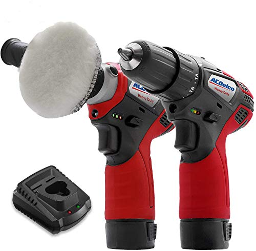 """ACDelco ARS1212-K6 G12 Series 12V Cordless Li-ion 3"""" Mini Polisher & 2-Speed 3/8"""" Drill Driver Combo Tool Kit with 2 Batteries"""