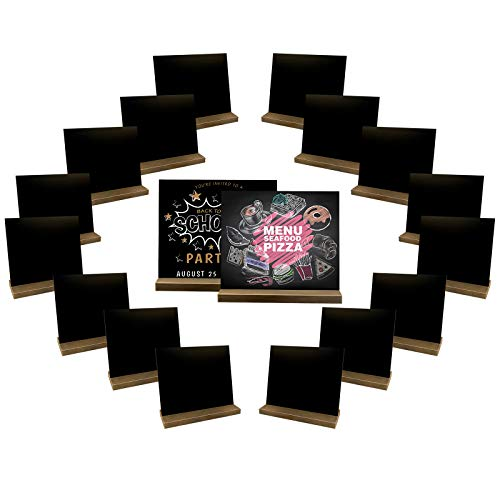 18 Pack Mini Chalkboard Signs, 4 X 3.2 Inch Vintage Wooden Tabletop Chalkboard Sign with Base Stand