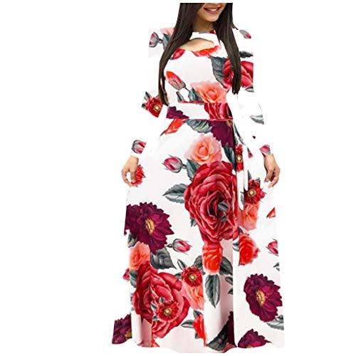Eaylis Damen Kleid Mode Sexy Rock Langarm Blumen Boho Print Langes Kleid Damen Freizeitkleid