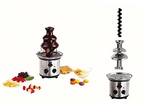 Roestvrijstalen chocoladefontein, elektrisch, chocoladefontein, 1000 g, chocoladefontein, 320 watt, extra gladde caskaden, dippen, diverse vruchten en gebak, diepe opvangbak