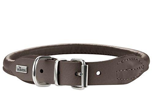 HONDER ROUND & SOFT ELK rond genaaide hondenhalsband, met zacht elandleer, 40 (S), mokka