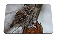 22cmx18cm マウスパッド (捕食者鳥フクロウ雪) パターンカスタムの マウスパッド