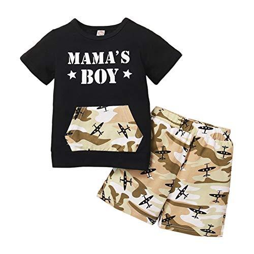 Loveablely Kleinkind Baby Jungen 2 Stück Set Tarnung Mama's Boys Print Kurzarm Top + Camo Hosen Outfits Tops Set