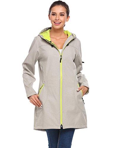 vansop Women's Waterproof Lined Long Outdoor Sport Windbreaker Rain Jacket(Gray,XXL)