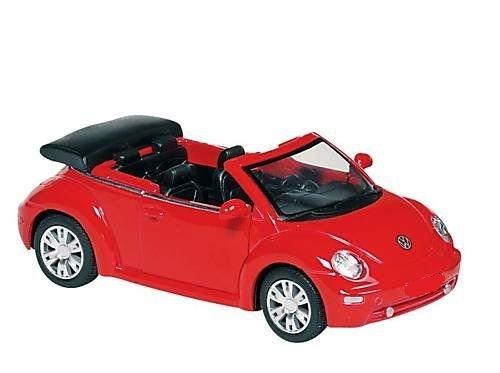 MAISTO® VW New Beetle Cabrio - Volkswagen Cabriolet - 1:64 - Farbe: rot/schwarz