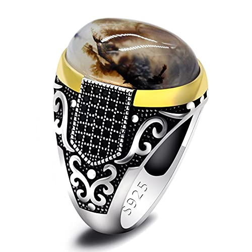 ZiFei 925 Sterling Silver Rings with Agate Stone Antique Wedding Rings for Men Turkish Punk Rock Jewelry Gift,8