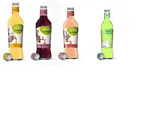20 Flaschen a 300ml Vio Schorle Mix Apfel, schwarze Johannisbeere, Limette, Rhabarber inclusive 3.00€ MEHRWEG Pfand Glas