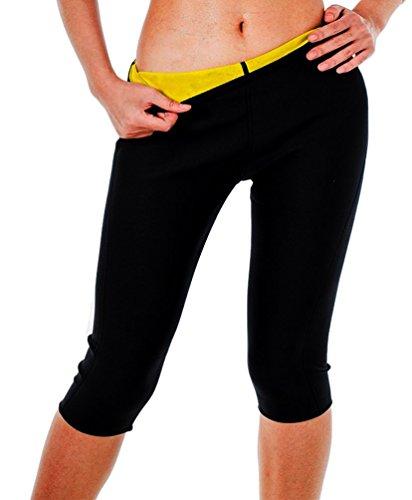 DODOING Damen Hot Neopren Running Kompressionswäsche Capri Sporthose Waist Training Shapers Schwitzhose Pant