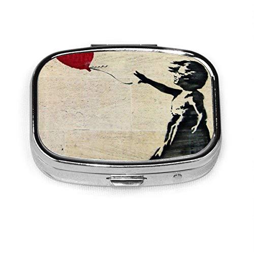 Pastillero cuadrado La chica de Banksy con un globo rojo Organizador de medicamentos de metal Estuche para contenedores Almacenamiento Viaje Caja decorativa diaria Soporte para estuches