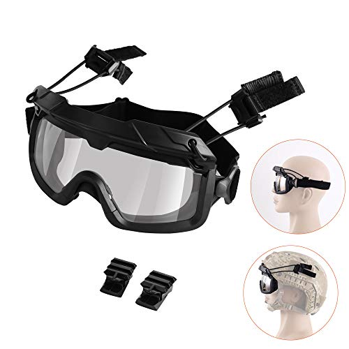 AIRSOFTPEAK Airsoft Tactical Goggles 2.55mm Thick Lens Safety Goggles 99% UV Protection Eyewear Shooting Glasses with 2 Helmet Rail Connectors