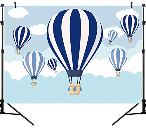 Sensfun Hot Air Balloon Backdrop Kids Birthday Party Blue Sky White Clouds Up Up and Away Boy Baby Shower Newborn Photography Background Cake Dessert Table Decoration Banner Photo Studio Props 7x5ft