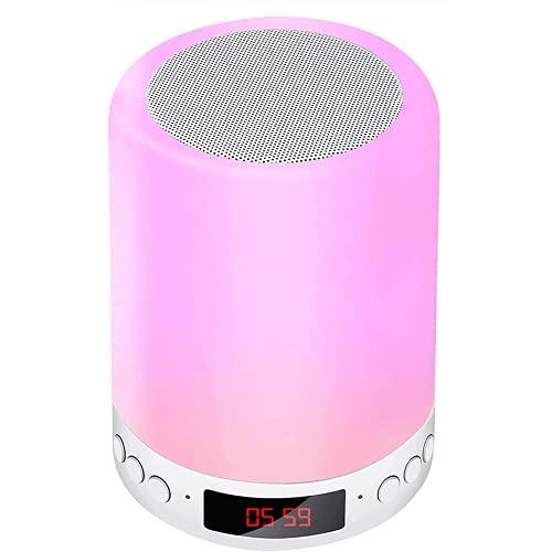 Porcyco Lámpara de altavoz Bluetooth, reloj despertador con luz nocturna táctil inteligente con altavoz de música RGB Bluetooth regulable de 7 colores que cambia, lámpara de noche para dormitorio