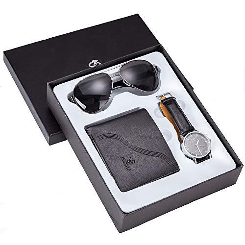 ZOZIZZ Gafas de Regalo de Hombre Reloj + Wallet Gafas de Sol Conjunto Conjunto de Reloj de Regalo de combinación Creativa Fresca Conjunto con una Caja de Embalaje bellamente,Negro