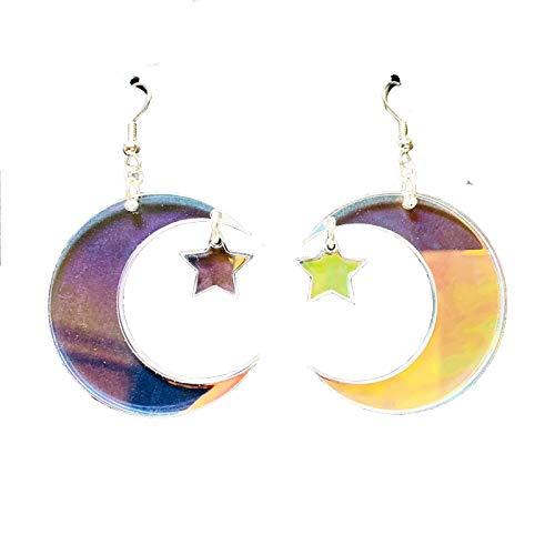XDXY Acryl Ohrringe Mond Stern Ohrringe Retro transparente Mode Farbe geometrische Ohrringe