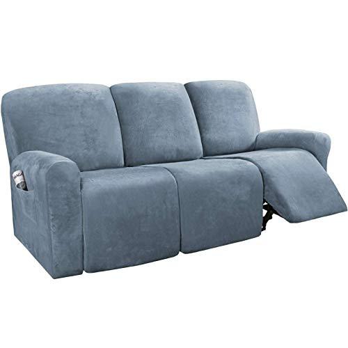 GCP Fundas reclinables Funda reclinable, Funda reclinable de Tres Asientos Funda para Silla Mecedora Funda Protectora para sofá, Juego de sillón reclinable de Tela Gruesa, 8 Piezas (Gris Azul)
