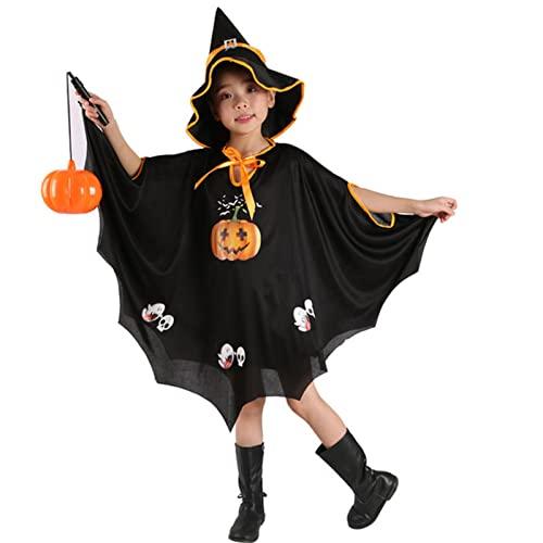 WFEI Trajes de Bruja Disfraz de Miedo Ropa de Halloween Capa de Calabaza Halloween Trajes de Halloween para nios Robe Hat Bruja Nios,Negro,M