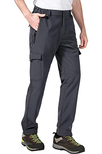 aoli ray Mens Cargo Pants Stretch Elastic Waist Hiking Pants for Men Relaxed Fit Zipper Pockets Waterproof(Gray,M)